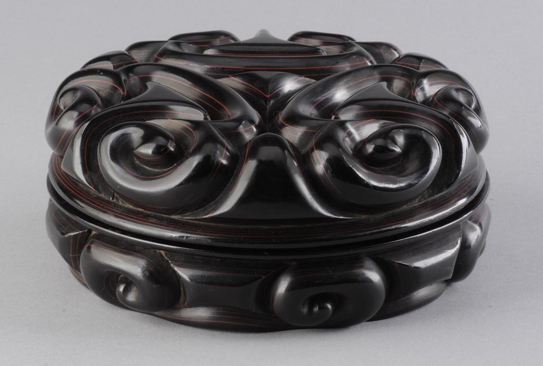 Box of Carved Marbled Lacquer with Cloud Pattern Made by Zhang Cheng